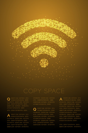 Abstraktes geometrisches Bokeh-Kreispunktpixelmuster Wifi-Symbol, Internetverbindungskonzeptdesign goldene Farbillustration lokalisiert auf braunem Steigungshintergrund