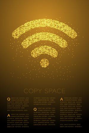 Símbolo de Wifi de patrón de píxeles de punto de círculo de Bokeh geométrico abstracto, ilustración de color dorado de diseño de concepto de conexión a Internet aislado sobre fondo degradado marrón