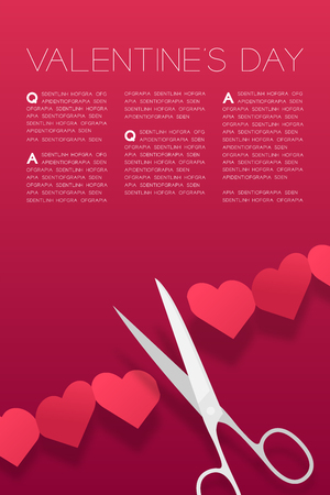 Scissors cut Heart paper chain, Valentine's day concept layout poster template design illustration isolated on pink gradients background with copy space