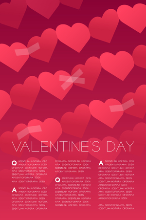 Heart paper chain tear repair by adhesive tape, Valentine's day concept layout poster template design illustration isolated on white background with copy space Illustration