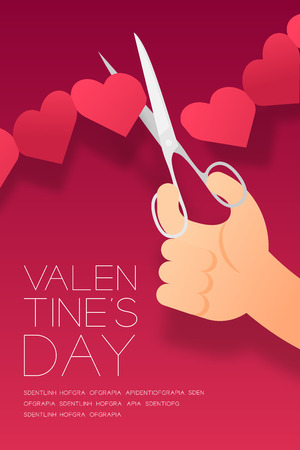 Hand with scissors cut Heart paper chain, Valentine's day concept layout poster template design illustration isolated on pink gradients background with copy space