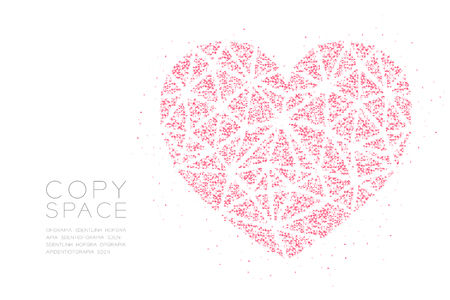 Heart icon Abstract Geometric Low polygon square box pixel and Triangle pattern, Valentine's day concept design pink color illustration on white background