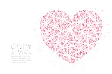 Heart icon Abstract Geometric Circle dot pixel pattern, Valentine's day concept design pink color illustration on white background with copy space, vector eps 10 Çizim