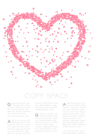 Heart icon made frome Abstract mini heart pattern, Valentine's day concept design pink color illustration on white background