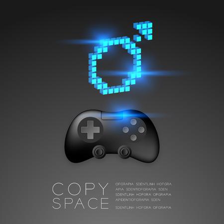 Manette de jeu ou joypad de couleur noire avec icône de pixel de sexe masculin, illustration de conception de concept Men Gamer isolée sur fond de dégradés noirs, avec espace de copie