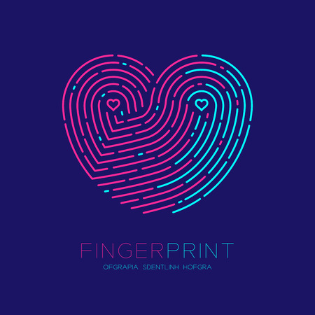 Hart patroon vingerafdruk scan pictogram dash lijn, liefde Valentijn concept, bewerkbare lijn illustratie roze en blauw geïsoleerd op donker blauwe achtergrond Vector Illustratie