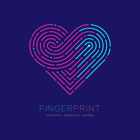 Heart pattern Fingerprint scan icon dash line, Love valentine concept, Editable stroke illustration pink and blue isolated on dark blue background Vettoriali