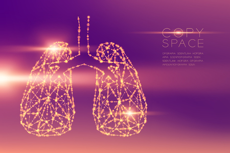 Lung shape futuristic pattern wireframe polygon bokeh light structure and lens flare, Medical Science Organ concept illustration isolated on purple gradients background with copy space