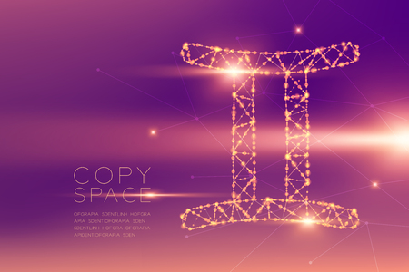 Gemini Zodiac sign wireframe polygon futuristic bokeh light frame structure and lens flare, Fortune teller concept design illustration isolated on purple gradients background with copy space