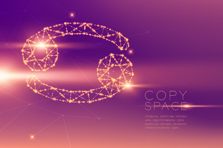 Cancer Zodiac sign wireframe polygon futuristic bokeh light frame structure and lens flare, Fortune teller concept design illustration isolated on purple gradients background with copy space Zdjęcie Seryjne - 117769873
