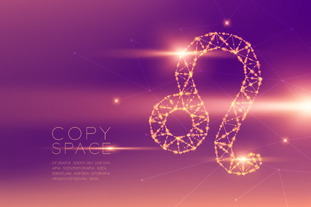Leo Zodiac sign wireframe polygon futuristic bokeh light frame structure and lens flare, Fortune teller concept design illustration isolated on purple gradients background with copy space Zdjęcie Seryjne - 117769875