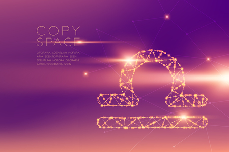 Libra Zodiac sign wireframe polygon futuristic bokeh light frame structure and lens flare, Fortune teller concept design illustration isolated on purple gradients background with copy space Zdjęcie Seryjne - 117769879