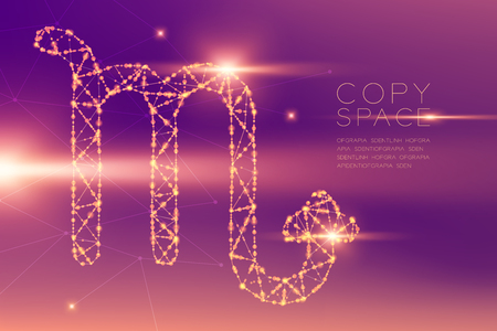 Scorpio Zodiac sign wireframe polygon futuristic bokeh light frame structure and lens flare, Fortune teller concept design illustration isolated on purple gradients background with copy space Vectores