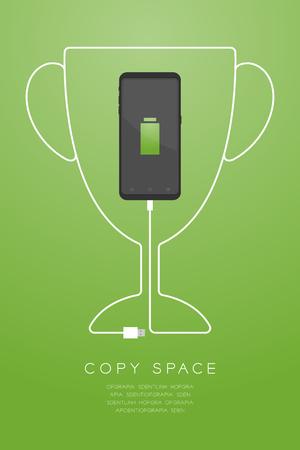 Trofeo Copa forma número uno hecha de cable de cargador usb con diseño plano de Smartphone, Ilustración de concepto de batería de ganador aislado sobre fondo degradado de oro, con espacio de copia vector eps 10 Ilustración de vector