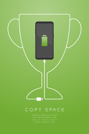 Trophy Cup number one shape made from usb charger cable with Smartphone flat design, Winner battery concept illustration isolated on gold gradient background, with copy space vector eps 10 Ilustração Vetorial