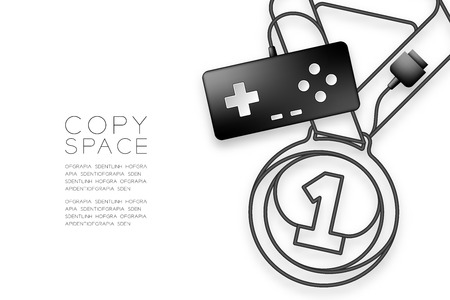 Medal number one shape made from cable Retro Gamepad or joypad black color, Game winner concept design illustration isolated on white background, with copy space, vector eps 10