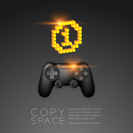 Gamepad or joypad black color with Gold Medal number one pixel icon, Game winner concept design illustration isolated on black gradients background, with copy space