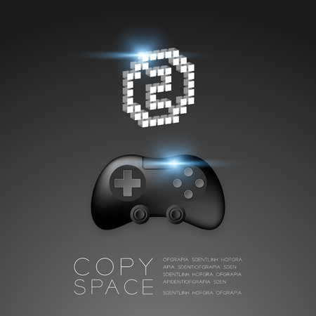Gamepad or joypad black color with Silver Medal number two pixel icon, Game winner concept design illustration isolated on black gradients background, with copy space