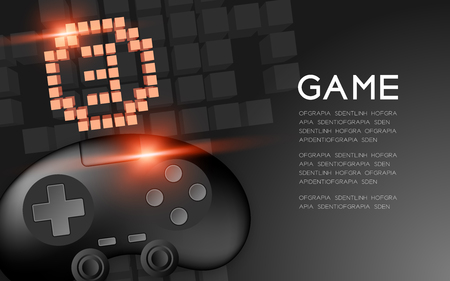Gamepad or joypad black color with Copper Medal number three pixel icon, Game winner concept design illustration isolated on black gradients background, with copy space