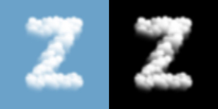 Alphabet uppercase set letter Z, Cloud or smoke pattern, transparent illustration isolated float on blue sky background, with opacity mask, vector eps 10 Stockfoto - 124994361