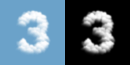 Number three or 3 Cloud or smoke pattern, transparent illustration isolated float on blue sky background, with opacity mask, vector eps 10 Ilustração