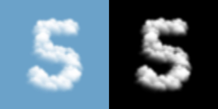 Number five or 5 Cloud or smoke pattern, transparent illustration isolated float on blue sky background, with opacity mask, vector eps 10