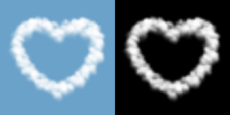 Love heart sign and symbol Cloud or smoke pattern, Valentines concept design transparent illustration isolated float on blue sky background with opacity mask, vector eps 10