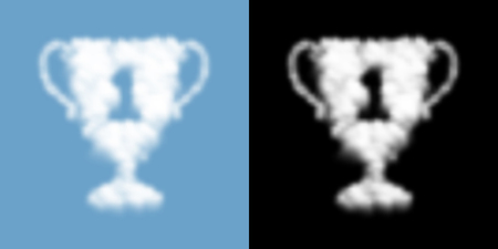 Trophy cup number one shape Cloud or smoke pattern, Sport winner concept design transparent illustration isolated float on blue sky background with opacity mask, vector eps 10 Ilustrace