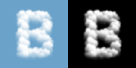 Alphabet uppercase set letter B, Cloud or smoke pattern, transparent illustration isolated float on blue sky background, with opacity mask, vector eps 10