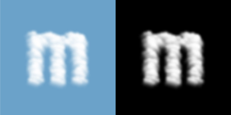 Alphabet lowercase set letter m, Cloud or smoke pattern, transparent illustration isolated float on blue sky background, with opacity mask, vector eps 10
