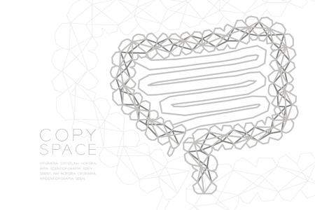 Intestine shape wireframe polygon silver frame structure, Medical Science Organ concept design illustration isolated on black gradient background with copy space, vector eps 10