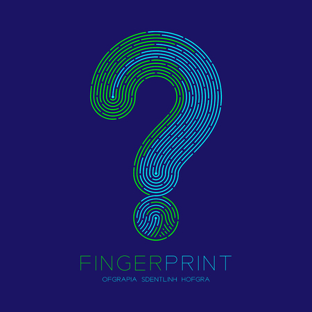 Question mark sign pattern Fingerprint scan logo icon dash line, Doubt concept, Editable stroke illustration blue and green isolated on blue background with Fingerprint text and space, vector eps10 Vectores