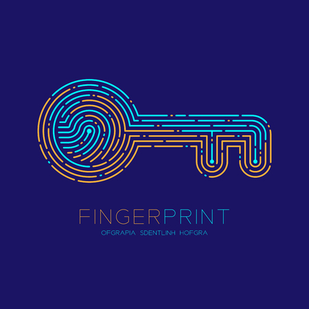 Key shape pattern Fingerprint scan logo icon dash line, Security privacy concept, Editable stroke illustration blue and orange isolated on blue background with Fingerprint text and space, vector Illustration