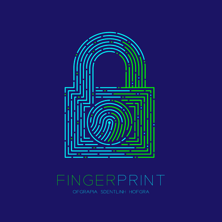 Lock shape pattern Fingerprint scan logo icon dash line, Security privacy concept, Editable stroke illustration blue and green isolated on blue background with Fingerprint text and space, vector eps10 Ilustração