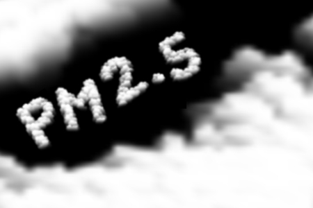 PM 2.5 text Cloud or smoke pattern, Pollution dust concept design illustration isolated float on dark sky background, vector eps 10 Vectores