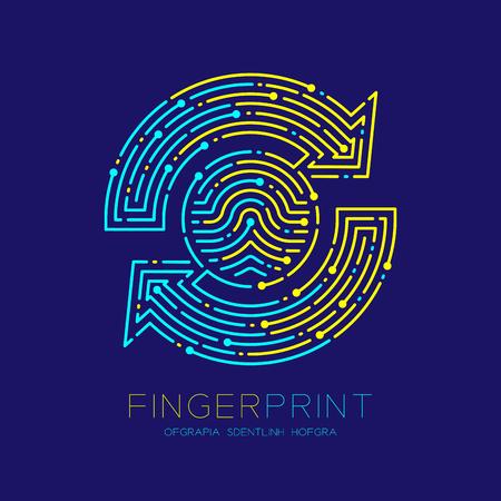 Refresh sign Fingerprint scan pattern logo dash line, digital data technology concept, Editable stroke illustration yellow and blue isolated on dark blue background with Fingerprint text, vector eps Logo