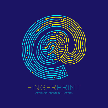 At sign icon Fingerprint scan pattern logo dash line, digital technology online concept, Editable stroke illustration yellow and blue isolated on dark blue background with Fingerprint text, vector Illustration