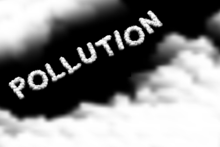Pollution text Cloud or smoke pattern, PM 2.5 Dirty dust concept design illustration isolated float on dark sky background, vector eps 10 Vettoriali