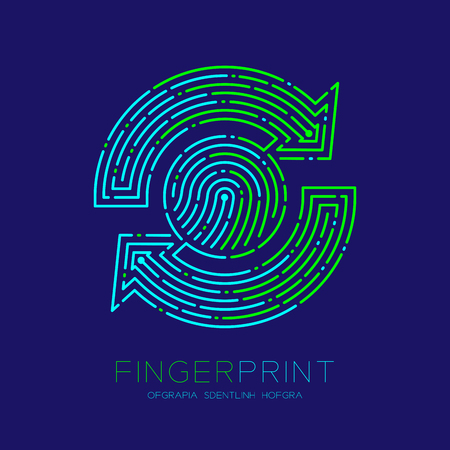 Refresh sign Fingerprint scan pattern logo dash line, digital data technology concept, Editable stroke illustration green and blue isolated on dark blue background with Fingerprint text, vector eps 10 Banque d'images - 119946144
