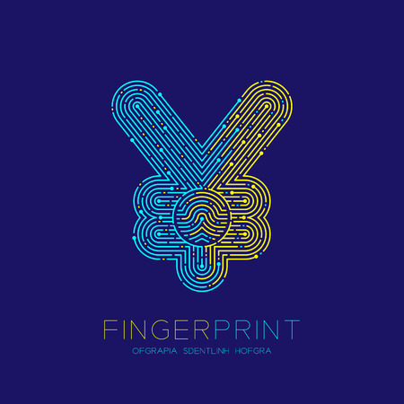 Currency JPY (Japanese Yen) sign Fingerprint scan pattern logo dash line, digital cryptocurrency concept, Editable stroke illustration isolated on blue background with Fingerprint text, vector eps