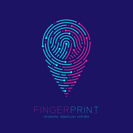 GPS navigator icon shape Fingerprint scan pattern logo dash line, digital map pointer concept, Editable stroke illustration pink and blue isolated on dark blue background with Fingerprint text