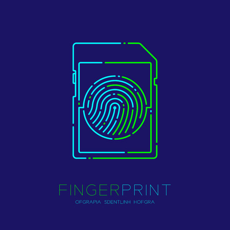 SD or memory card shape Fingerprint pattern logo dash line, Gadget concept design, Editable stroke illustration blue and green isolated on dark blue background with Fingerprint text and space, vector Illustration