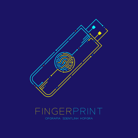 Flash or usb drive shape Fingerprint pattern logo dash line, Gadget concept, Editable stroke illustration blue and yellow isolated on dark blue background with Fingerprint text and space, vector Illustration