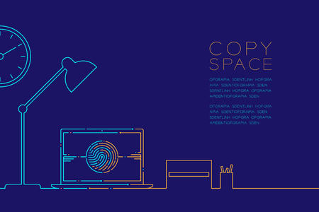 Office workplace and laptop computer with fingerprint dash line, Digital office concept design, Editable stroke illustration blue and orange isolated on dark blue background with copy space, vector