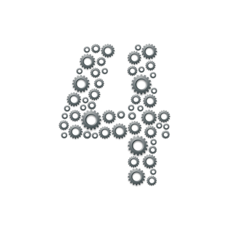 Alphabet set letter number four or 4, Engineering Gear pattern, Teamwork system concept design illustration isolated on white background, vector eps 10