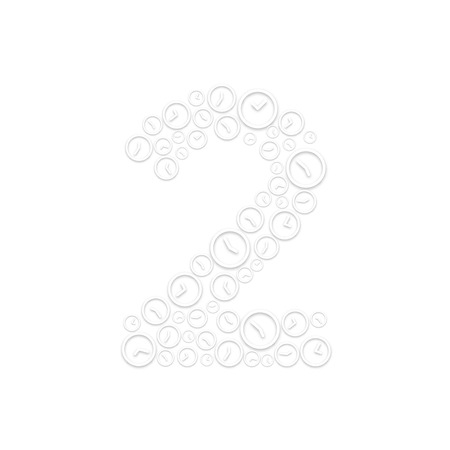 Alphabet set letter number two or 2, Clock shuffle pattern, Time system concept design illustration isolated on white background, vector eps 10