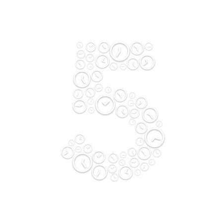 Alphabet set letter number five or 5, Clock shuffle pattern, Time system concept design illustration isolated on white background, vector eps 10 Illustration