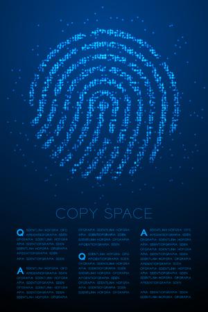 Fingerprint shape Particle Geometric Bokeh circle dot pixel pattern blue color illustration on blue gradient background with copy space, vector