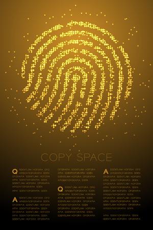 Fingerprint shape Particle Geometric Bokeh circle dot pixel pattern gold color illustration on brown gradient background with copy space, vector Иллюстрация