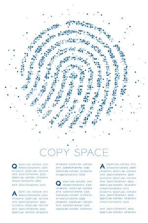 Fingerprint shape Particle Geometric Square box pixel pattern blue color illustration on white background with copy space, vector